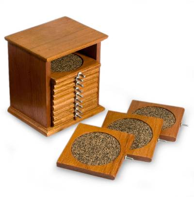12 Wood Coasters with Holder