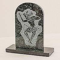 Marble sculpture Maya Jaguar Dancer Guatemala