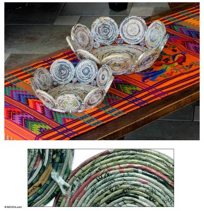 Recycled paper baskets, 'Floral Spin' (pair) - Recycled paper baskets (Pair)