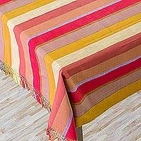 Cotton tablecloth, 'Guatemala Sunshine' - Hand Crafted Central American Cotton Table Cloth