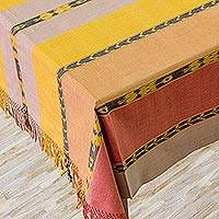 Cotton tablecloth, 'Maya Sunset' - Handwoven Table Linen from Guatemala