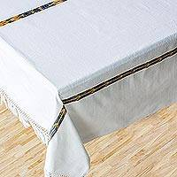 Cotton tablecloth, 'Maya Cloud' - Cotton tablecloth