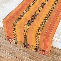 Cotton table runner, 'Maya Sunset' - Hand Woven Cotton Runner Table Linen