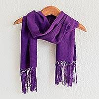 Cotton scarf, 'Maya Orchid' - Hand Made Central American Cotton Scarf with Fringe