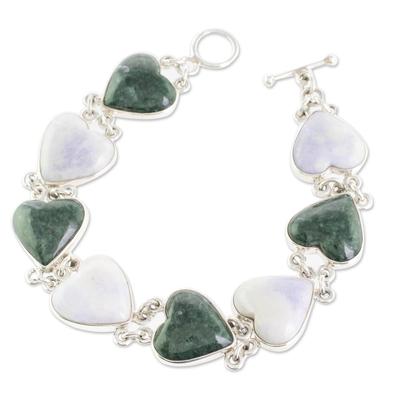 Handcrafted Heart Shaped Sterling Silver Link Jade Bracelet