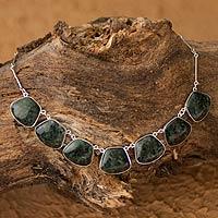 Jade pendant necklace, 'Maya Legends'