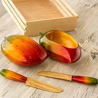 Wood canape set, 'Tropical Mango' (5 pieces)