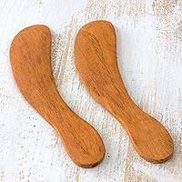 Cedar spreader knives, 'Forest Gift' (pair) - Unique Wood Serving Utensil Spreader Knives (Pair)