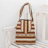 Cotton shoulder bag, 'Maya Lands' - Striped Cotton Handbag from Central America