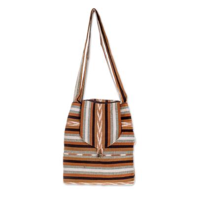 Cotton shoulder bag, 'Maya Lands' - Striped Cotton Handbag from Central America