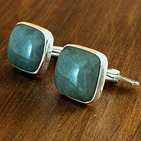 Jade cufflinks, 'Natural Green' - Hand Made Good Luck Sterling Silver Jade Cufflinks