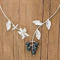 Jade flower wrap necklace, 'Aq'ab'al' (Guatemala)