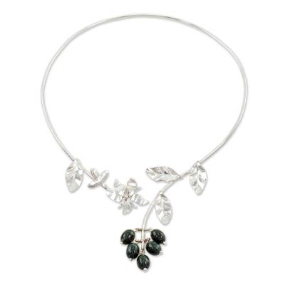Artisan Crafted Floral Sterling Silver Jade Wrap Necklace
