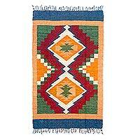 Wool area rug, 'Sierra Song' - Hand Woven Geometric Wool Area Rug