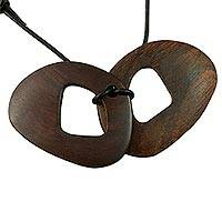 Wood pendant necklace, 'Butterfly' - Handcrafted Leather and Wood Pendant Necklace