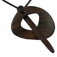 Wood pendant necklace, 'Dragonfly' - Handcrafted Wood Pendant Necklace on Adjustable Cord