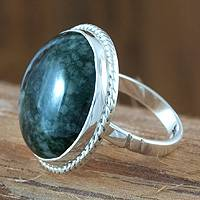 Jade single stone ring, 'Quetzal Dome' - Sterling Silver Single Stone Jade Jewelry Ring