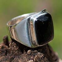 Men's black jade ring, 'Art of Life' - Men's Unique Good Luck Sterling Silver Signet Jade Ring