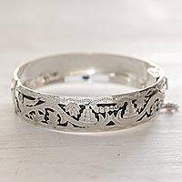 Sterling silver bangle bracelet, 'Quetzal at Tikal' - Sterling Silver Bangle Bracelet from Central America