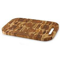 Reclaimed teakwood chopping board, 'Nature's Rectangular Puzzles' (large) - Reclaimed teakwood chopping board (Large)