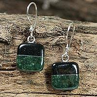Jade dangle earrings, 'Duality' - Fair Trade Sterling Silver Jade Dangle Earrings