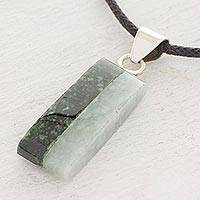 Jade pendant necklace, 'Life' - Artisan Crafted Cotton Cord Jade Pendant Necklace