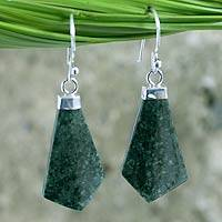 Jade dangle earrings, 'Warrior's Lance' - Fair Trade Jade and Sterling Silver Dangle Earrings
