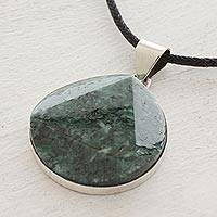 Jade pendant necklace, Green Moon