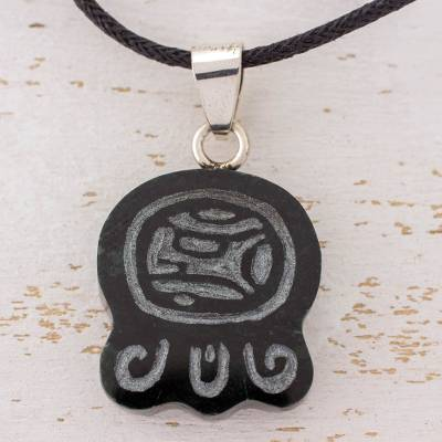 Jade pendant necklace, 'Maya Eagle' - Maya Eagle Glyph Pendant on Black Cord Necklace