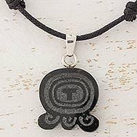 Jade pendant necklace, 'Maya Breeze' - Maya Glyph for Breeze on Jade and Cotton Necklace