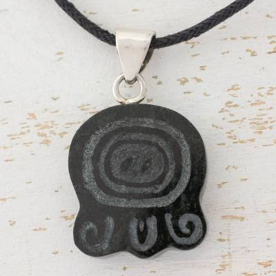 Jade pendant necklace, 'Feathered Serpent' - Jade Glyph Necklace of Maya Feathered Serpent
