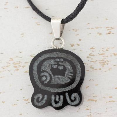 Jade pendant necklace, 'Maya Knowledge of Power' - Handmade Maya Glyph Jade Pendant Cotton Necklace