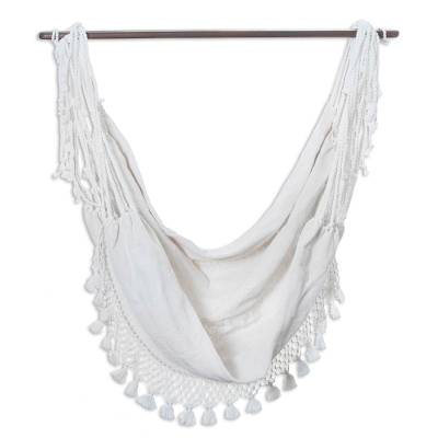Hand Crafted White Cotton Hammock Swing from Guatemala