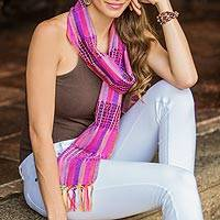 Cotton scarf, 'Gossamer Violet' - Hand Loomed Central American Cotton Scarf