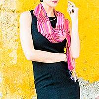 Cotton scarf, 'Gossamer Fuchsia' - Hand Made Cotton Scarf from Central America