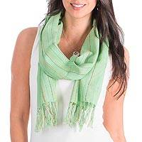 Cotton scarf, 'Monterrico Spring' - Cotton scarf