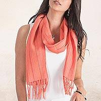 Cotton scarf, 'Verapaz Peach' - Cotton scarf