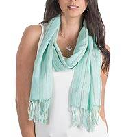 Cotton scarf, 'Monterrico Aqua' - Cotton scarf