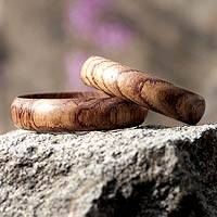 Wood bangle bracelets, 'Eco Muse' (wide, pair) - Hand Carved Wide Wood Bangle Bracelets (Pair)