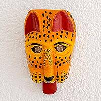 Pinewood mask, 'Tigrillo' - Hand Carved and Painted Wood Jaguar Mask