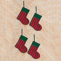 Cotton ornaments, 'Crimson Stockings' - Cotton ornaments