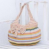 Cotton hobo bag, 'Pastel Goddess' - Hand Woven Striped Shoulder Bag
