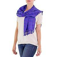 Cotton scarf, 'Vineyard Fantasy' - Guatemala Artisan Crafted Cotton Scarf