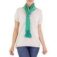 Cotton scarf, 'Eco Fantasy' - Artisan Crafted Cotton Striped Scarf