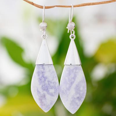 Jade dangle earrings, 'Maya Lance of Twilight' - Central American Modern Silver and Jade Dangle Earrings