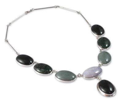 Hand Made Sterling Silver Pendant Jade Necklace
