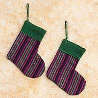 Cotton ornaments, 'Purple Stockings' (set of 4) - Cotton ornaments (Set of 4)