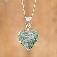 Jade heart necklace, 'Green Maya Heart' - Sterling Silver Heart Shaped Jade Necklace