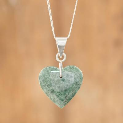 Jade heart necklace, Green Maya Heart