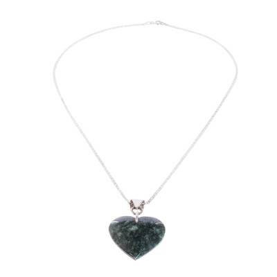 Sterling Silver Heart Shaped Jade Necklace